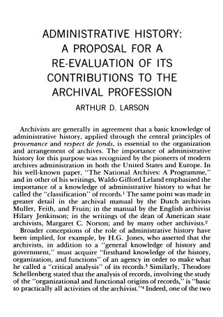 Administrative History Proposal