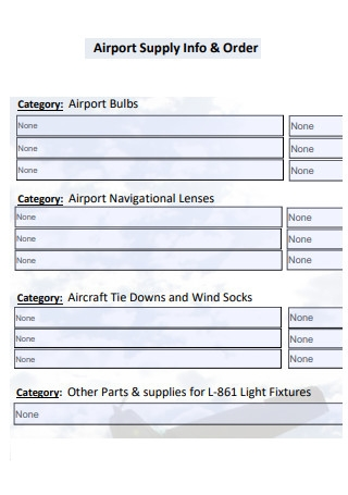Airport Supply Order