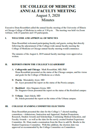 Annual Faculty Meeting Minutes