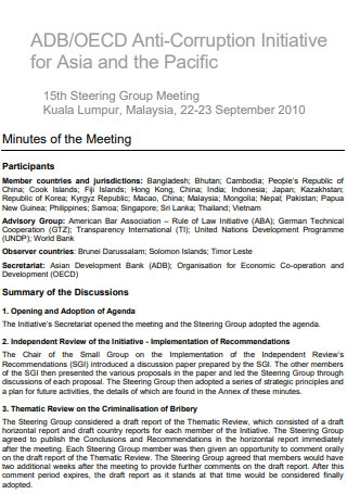 Anti Corruption Group Meeting Minutes