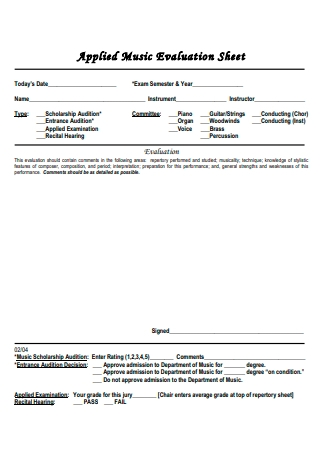Applied Music Evaluation Sheet