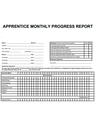 Apprentice Monthly Progress Report