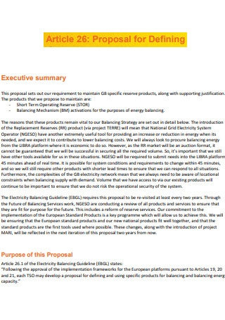 Article 26 Proposal for Defining