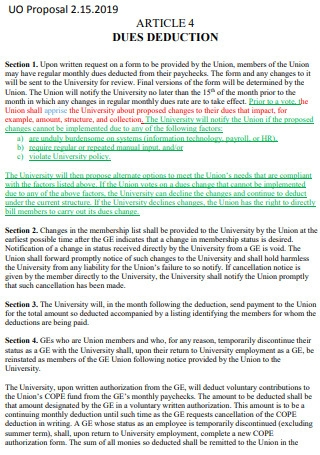 Article 4 Dues Deduction Proposal