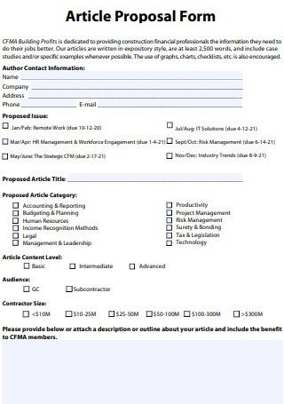 Article Proposal Form