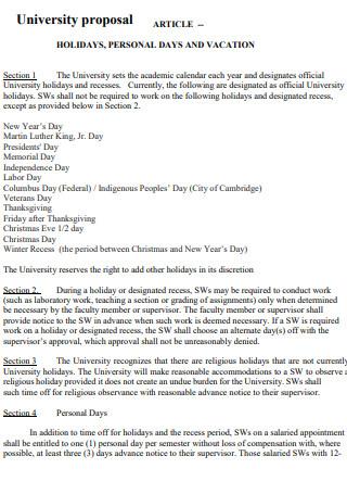 Article University Proposal
