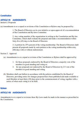 Article VII Section 1 Ammendment