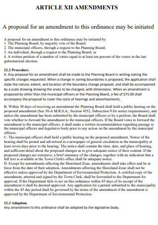 Article XII Amendment Proposal