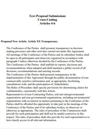Article XX Transparency Text Proposal