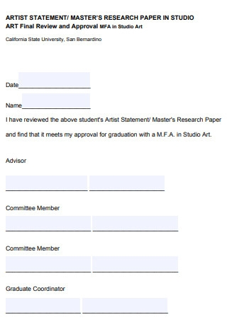 Artist Masters Research Statement