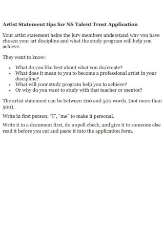 Artist Statement tips for NS Talent Trust Application