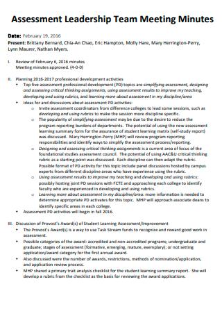 Assessment Leadership Team Meeting Minutes