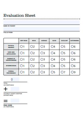 Basic Evaluation Sheet
