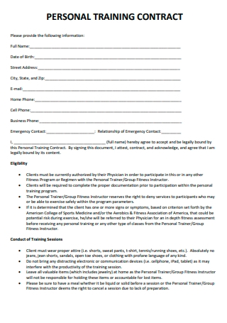 Basic Personal Training Contract