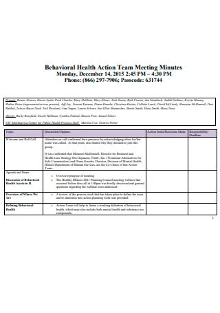 Behavioral Health Action Team Meeting Minutes