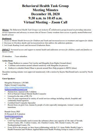 Behavioral Health Task Group Meeting Minutes