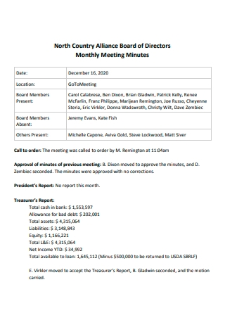 Board of Directors Monthly Meeting Minutes
