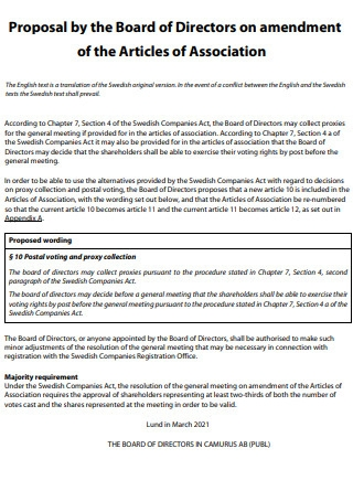 Board of Directors on Amendment Article Proposal