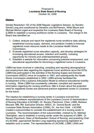 Board of Nursing History Proposal