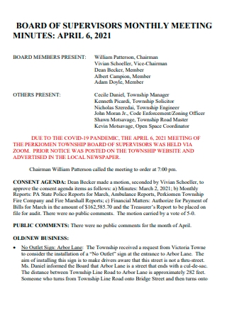Board of Supervisors Monthly Meeting Minutes