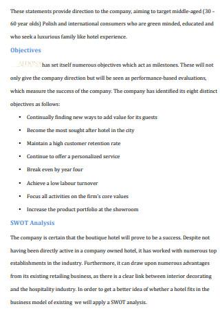 Boutique Hotel Business Plan