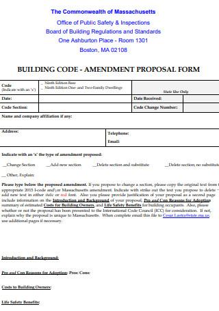 Building Code Amendment Proposal Form