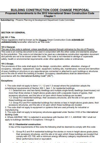 Building Construction Code Change Proposal