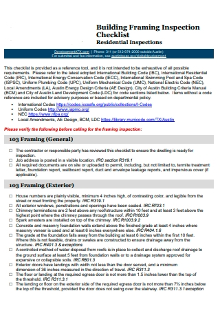 Building Framing Inspection Checklist