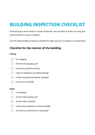 Building Inspection Checklist Format