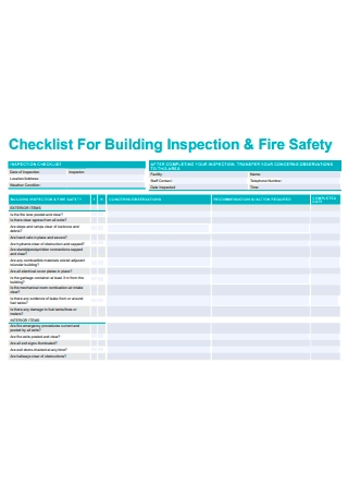 Building Inspection and Fire Safety Checklist