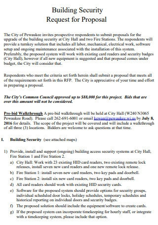 Building Security Request for Proposal