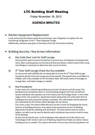 Building Staff Meeting Agenda Minutes