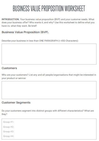 Business Value Propositions Worksheet