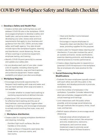 COVID 19 Workplace Safety And Health Checklist