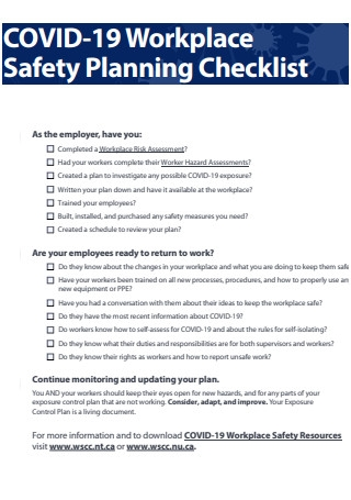 COVID 19 Workplace Safety Planning Checklist