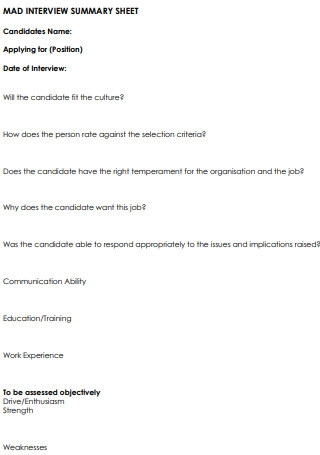 Candidate Interview Summary Sheet