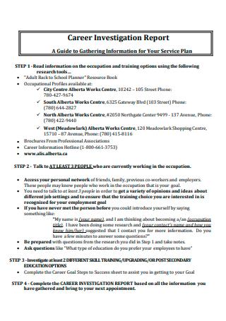 Career Investigation Report in PDF