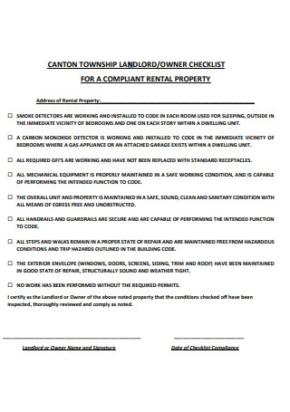 Checklist for Complaint Rental Property