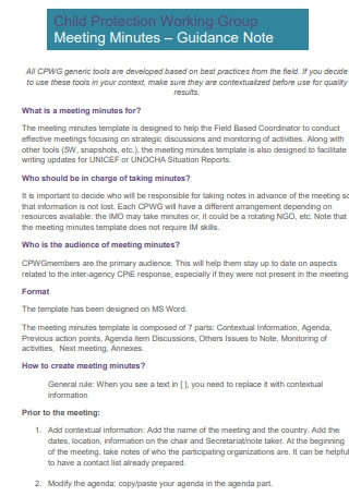 Child Protection Group Meeting Minutes