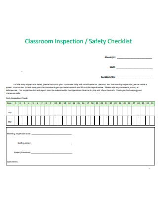 Class Room Inspection Safety Checklist