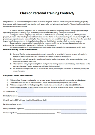 Class or Personal Training Contract