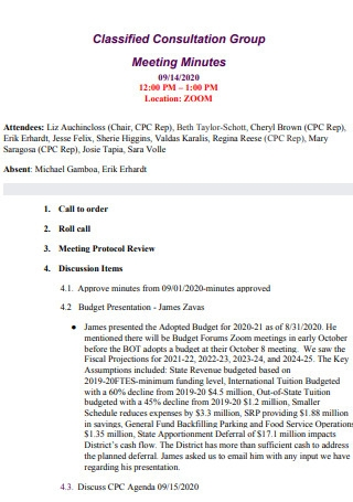 Classified Consultation Group Meeting Minutes