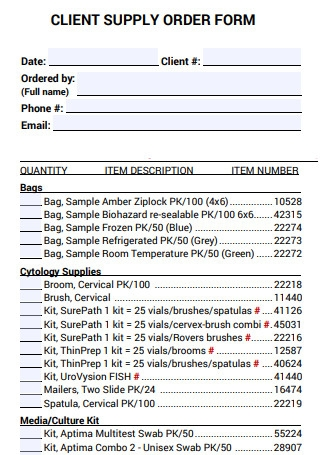 Client Supply Order Form