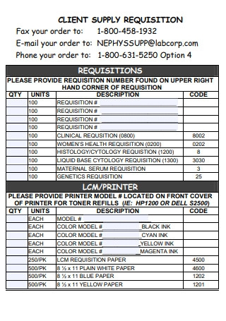 Client Supply Order Requisition