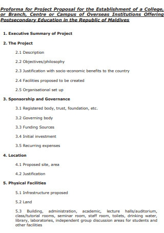 College Proforma for Project Proposal