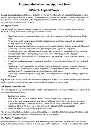 College of Arts and Science Applied Project Proposal