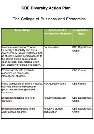 College of Business and Economics Diversity Action Plan