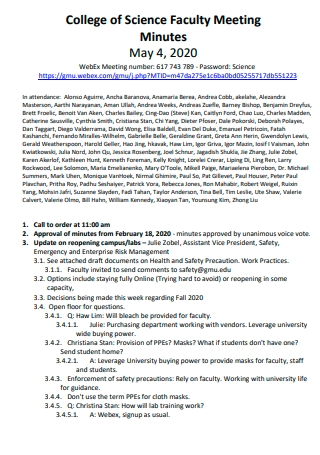 College of Science Faculty Meeting Minutes