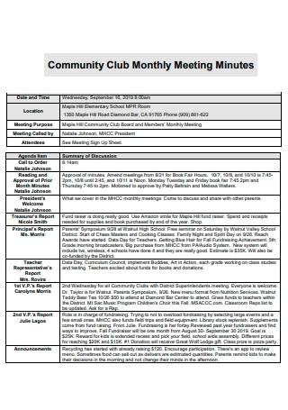 Community Club Monthly Meeting Minutes