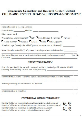 Community Counselling Child Biopsychosocial Assessment
